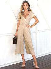 Load image into Gallery viewer, Solid Color V Neck Short Sleeve Wide Leg Pants Jumpsuit
