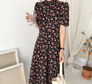 New Floral Print Short Sleeve Casual Dress
