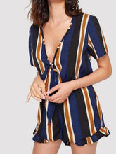 Load image into Gallery viewer, Print Deep V Neck Short Sleeve Jumpsuit Rompers