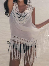 Load image into Gallery viewer, Sexy Tassel Sleeveless Beach Swimwear Bikini Cover Up