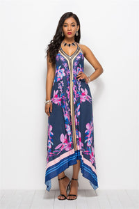 Print Halter Beach Summer Maxi Dress