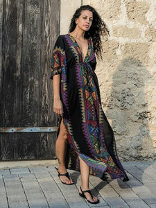 Bohemia Deep V Neck Split-side Elastic Waist Kaftan Beach Dress