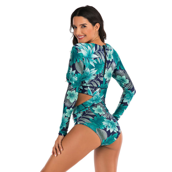 Long-sleeved Surf Suit Sunscreen Women's Swimsuit Hot Spring Diving Suit Sexy Swimsuit