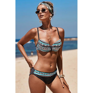 Summer Seaside Vacation One Piece Sexy Bikini Print Suspender Swimsuit