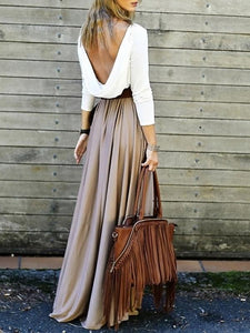 Casual Backless without Belt Beach Maxi Splicing Dress