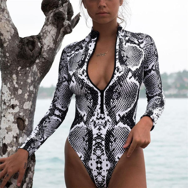 snake Leopard Print Bikini long sleeve swimsuit