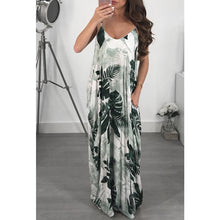 Load image into Gallery viewer, New Spaghetti Strap Printed Loose Beach Maxi Dress