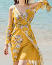 Load image into Gallery viewer, V-NECK  LONG-SLEEVE SPAGHETTI STRAPS FLORAL LONG DRESS