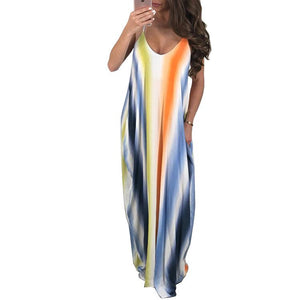 New Spaghetti Strap Printed Loose Beach Maxi Dress