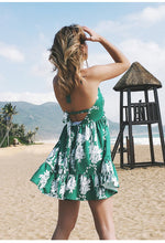 Load image into Gallery viewer, Sexy Printed Deep V Neck Sleeveless Backless Beach Mini Dress