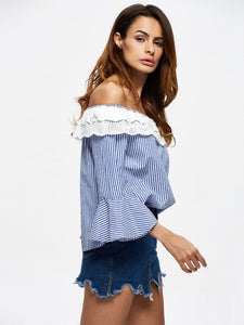 Stripe Off Shoulder Long Sleeve Tops T Shirt