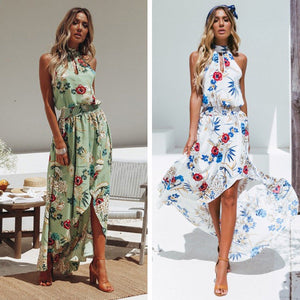 Floral Print Sleeveless Beach Bohemia Maxi Dress
