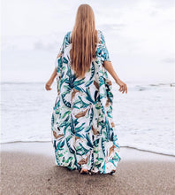 Load image into Gallery viewer, New White Background Leaf Print Beach Loose Seaside Cover up