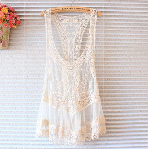 Lace Vest Skirt Blouse Mesh Yarn Embroidery Hook Flower Halter Top Cover-up