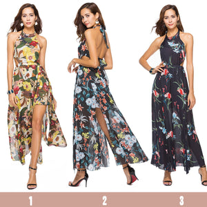 Floral Print Sleeveless Chiffon Beach Maxi Dress