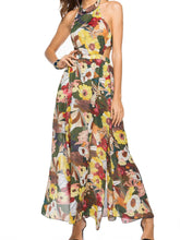 Load image into Gallery viewer, Floral Print Sleeveless Chiffon Beach Maxi Dress