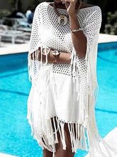 Load image into Gallery viewer, Knit Tassel Hollow Swimwear Beach Bikini Cover Up