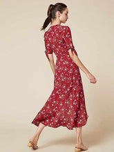 Load image into Gallery viewer, V-NECK HALF-SLEEVE FLORAL BOHO LONG DRESS