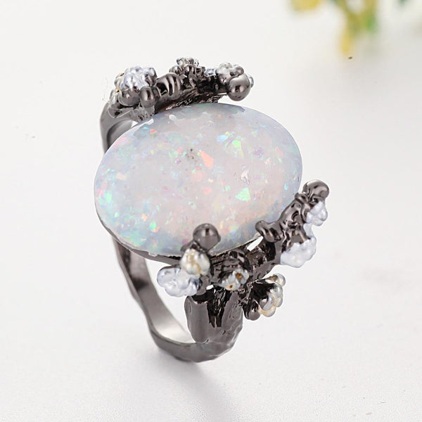 Tree Big stone rings white Oval Ring Black Rings Jewelry Moonstone Ring For Woman Wedding Engagment Jewelry