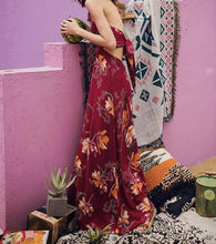 Load image into Gallery viewer, VINTAGE BACKLESS SPAGHETTI STRAPS HIGH-WAIST MAXI BOHO BEACH DRESS