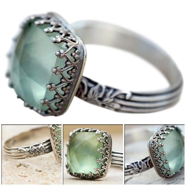 Vintage Thai Mint Green Moonstone Ring Simple Green Square Zircon Ring For Women Fashion Retro Female Rings Jewelry