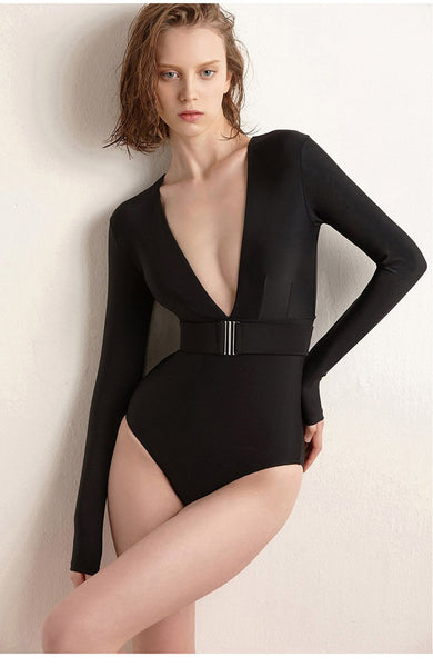Swimsuit Women's Solid Color Dark V Long Sleeve Slim Sexy One Piece Swimsuit