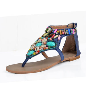 Ethnic Style Women Summer Bohemian Stone Bead Flat Sandals
