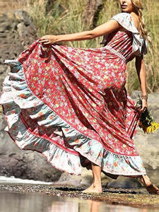 Red Off-the-shoulder Bohemia Maxi Chiffon Floral Print Dress Beach Style Vacation Dress