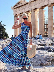 Printed Waist & Off-the-shoulder Casual Holiday Fashion Long Dress
