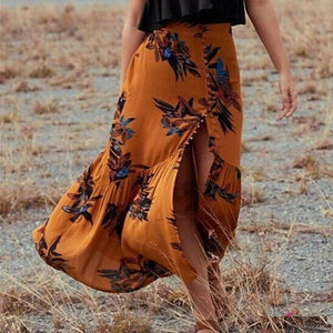 BOHO Summer Sexy High Slit Print Big Swing Ruffled Buttoned Skirt Dress