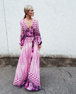 Boho Printed Long Sleeve Maxi Dress Bohemian Maxi Dress