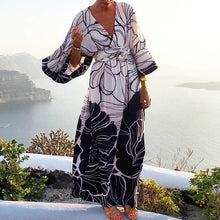 Load image into Gallery viewer, Women Holiday V-neck Print Mid-sleeve Waist Maxi Dress