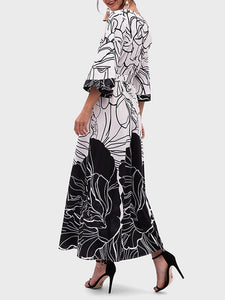 Women Holiday V-neck Print Mid-sleeve Waist Maxi Dress
