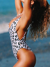 Load image into Gallery viewer, New Leopard Triangle One-piece Swimsuit Sexy Backless Bikini Swimsuit