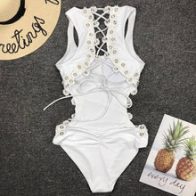 Load image into Gallery viewer, Women Sexy Backless One-piece Swimsuit Three-dimensional Flower Rivet One-piece Bikini Swimsuit