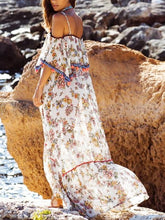 Load image into Gallery viewer, Bohemian Printed Sling With Word Collar Ruffled Sling Ball Maxi Dress Long Skirt Holiday Style