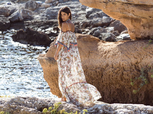 Bohemian Printed Sling With Word Collar Ruffled Sling Ball Maxi Dress Long Skirt Holiday Style