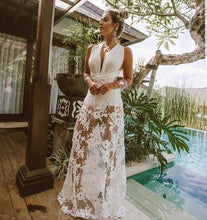 Load image into Gallery viewer, Summer New Dress Perspective Lace Hollow Beach Long Dress