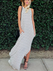 Two Color Female Striped Vest Strap Long Dress