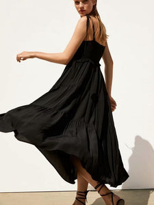 Summer Laminated Dress Strap Long Dress