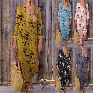 Boho V-neck Colorful Irregular Print Dress Long Skirt