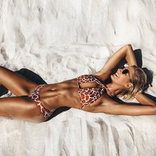 Load image into Gallery viewer, Swimwear Printed Straps Split Leopard Bikini