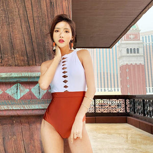 Summer Sexy Solid Color Matching High Collar Halter High Waist Siamese Thin Triangle Female Swimsuit