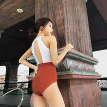 Load image into Gallery viewer, Summer Sexy Solid Color Matching High Collar Halter High Waist Siamese Thin Triangle Female Swimsuit