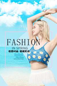 Hand-woven Small Chrysanthemum Sexy Knit Open Beach Bikini Top
