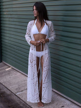 Load image into Gallery viewer, Lace Openwork Loose Beach Blouse Bikini Swimsuit Sunscreen Cardigan Beachwear Cover Up
