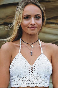 Hand Hook Knit Bikini Swimsuit Wrapped Chest Hanging Neck Back Beach Vest