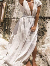 Load image into Gallery viewer, Vacation Casual Short-sleeved Solid Color Maxi Dress