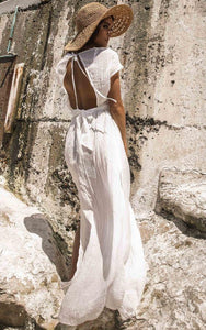 Vacation Casual Short-sleeved Solid Color Maxi Dress