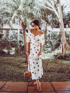 Sexy V-neck Floral Off-the-shoulder Medium Sleeve Midi Dress